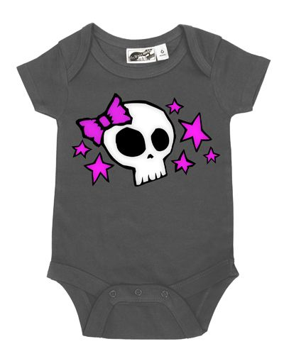 Skull & Stars Charcoal & Pink One Piece by My Baby Rocks gothic baby clothes and gifts