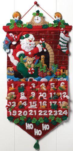 "Bucilla Must Be Santa Advent Calendar Felt Applique Kit-13""x25"" Bucilla http://www.amazon.com/dp/B007QNWKTS/ref=cm_sw_r_pi_dp_G.ygub16F5KA1"