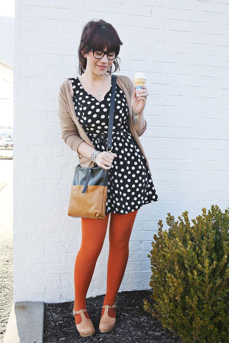 polka dot dress with tights