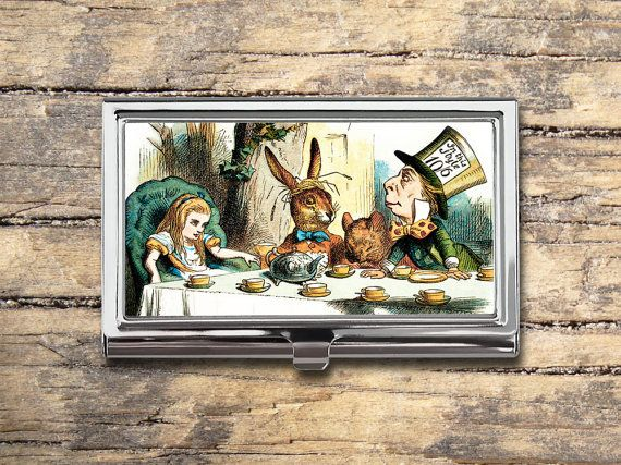 Alice in Wonderland Tea Party Business Card Case - Vintage Alice in Wonderland - Card Holder