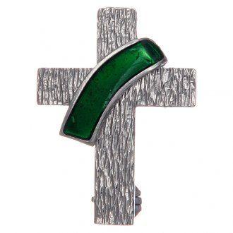 Broche cruz diaconal plata 925 esmalte verde | venta online en HOLYART