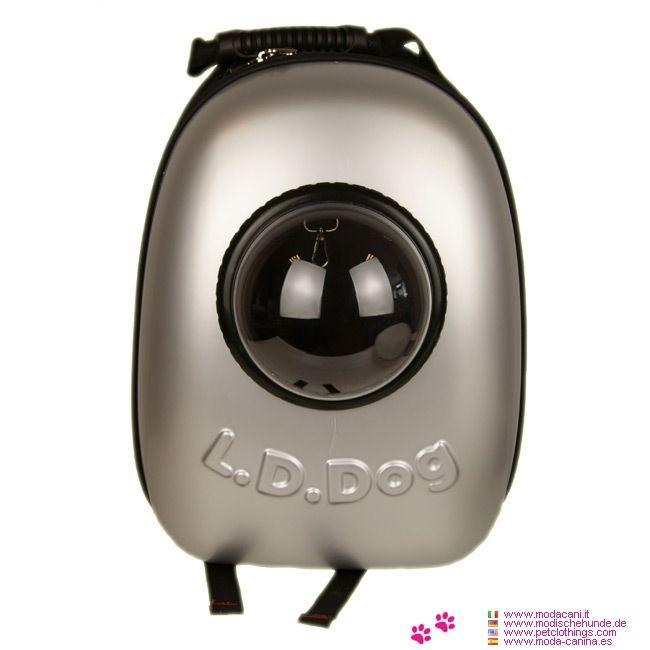 Mochila Cósmica Perros Pequeños color Plata - Mochila para perros pequeños con un diseño espacial: la parte delantera tiene una carcasa de plástico hecho del color de plata, con un ojo de buey