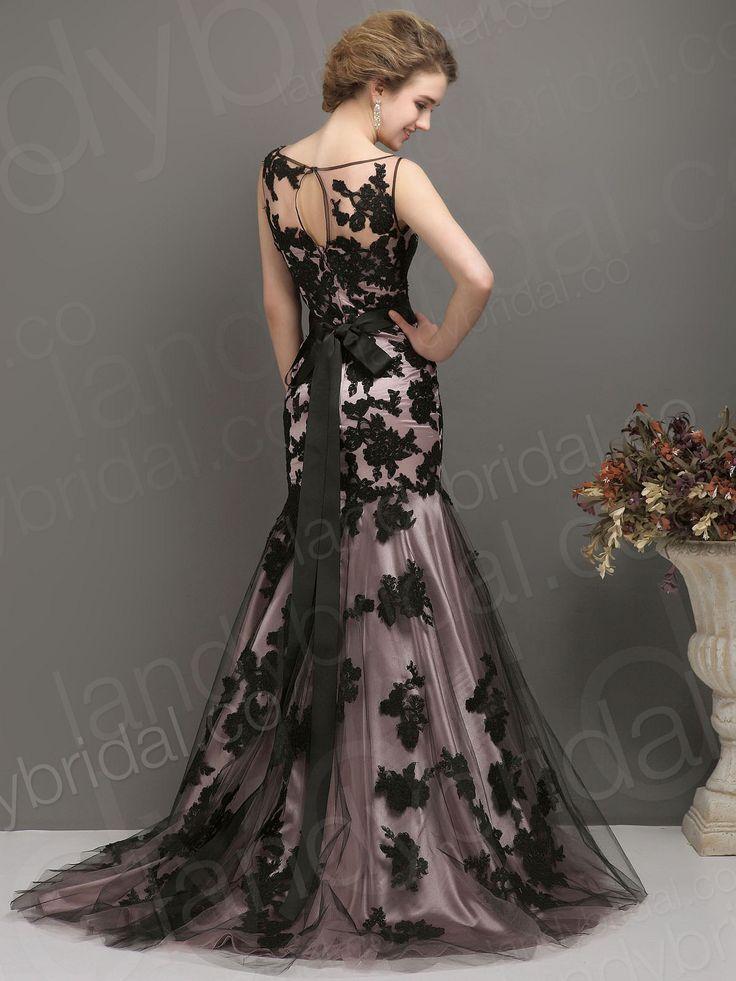 2014 wedding dress trends black trumpet mermaid jewel brush train pink lace zipper
