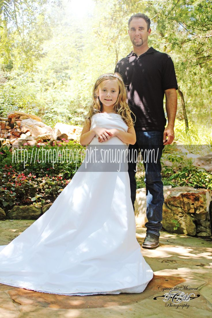 Little girl daughter in moms wedding dress https www for Wedding dresses for little girl