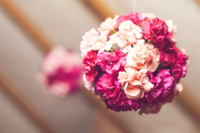 Beautiful flower balls, hanging in the Canopy and Stars tent from last years Wilderness Festival.
