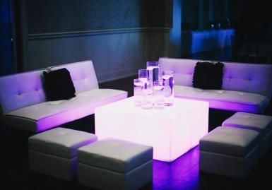 Modern lounge seating from Mood Party Rentals with lighting from Innovative Even…