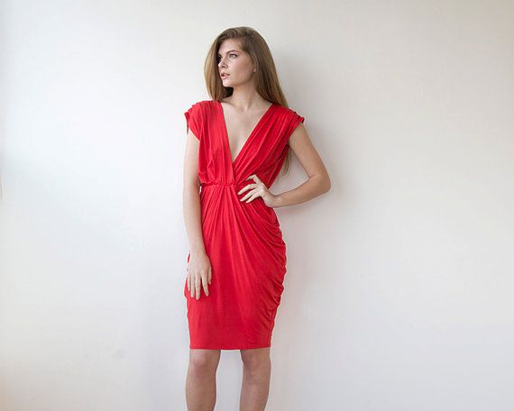 Red formal bridesmaids dress , Knee length bridesmaids gown 1007.
