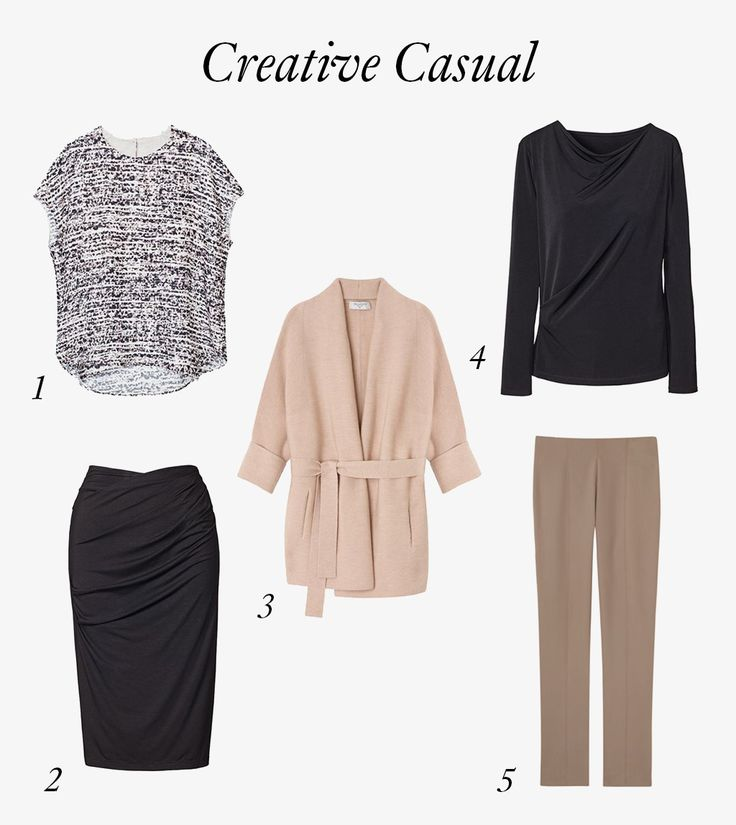 Five essential pieces for business formal, business casual, and creative casual work environments.
