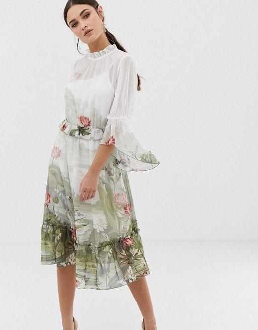 b4f701e4487 Ted Baker Brooki wonderland printed ruffle midi dress in 2019