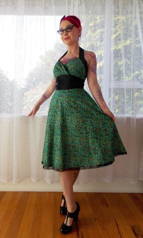 "1950s Rockabilly Peacock Dress ""Cassandra"" with Peacock Feather Print, Black Satin and Lace Trim - Custom made to fit"