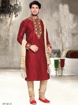 Mens Blended Slub Kurta Set