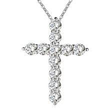 Banhado a prata colar de jóias de casamento das mulheres moda n296 Cruz CZ pedra de cristal de Zircão colar de pingente de presente de Natal(China (Mainland))
