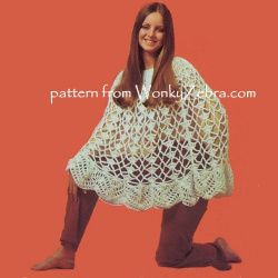 WonkyZebra WZ00801 A larger version of the short vintage lace wedding poncho pattern PDF