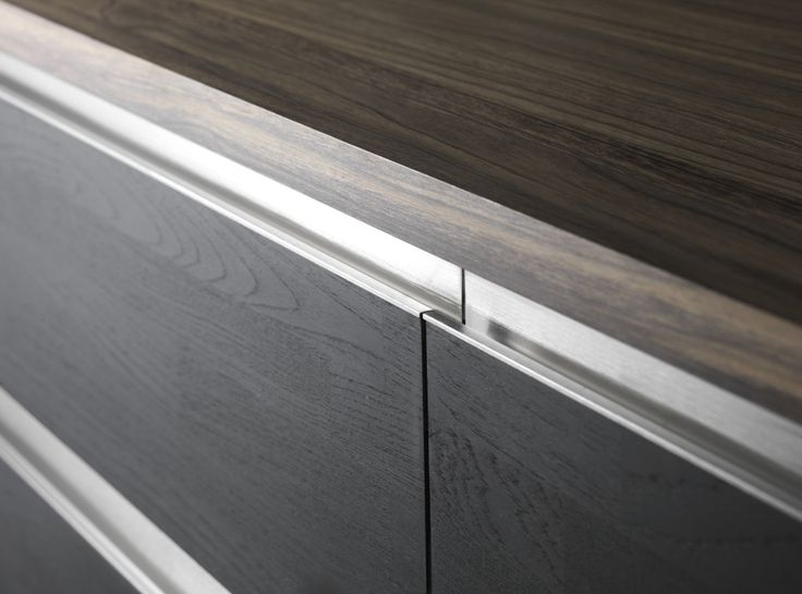 Beslag Design - Recessed handle Wall. Inox look. 196 - 1196 mm length.