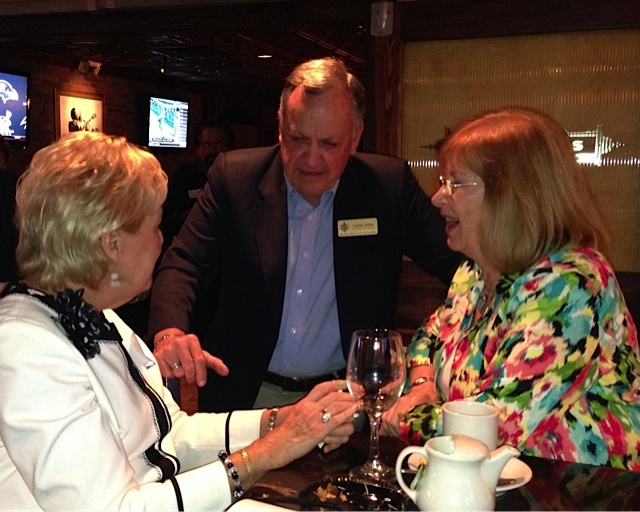 First time visitor Barbara Glanz (right) discusses international business initiatives with Sarasota Sister Cities VP for Business Chuck Steilen  and Virgina Stephens during the Sister Cities Meet & Greet in January 2013 at Ocean Blues on Hillview in Sarasota