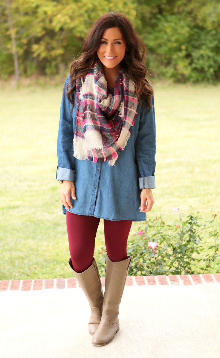 Denim Button-up Tunic could totally buy a blanket scarf & coordinate leggings for school.