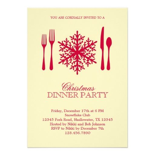 Place Setting Christmas Dinner Party Invitation Click On