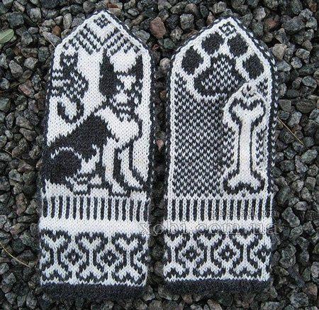 варежки вязаные спицами для любителей собак
