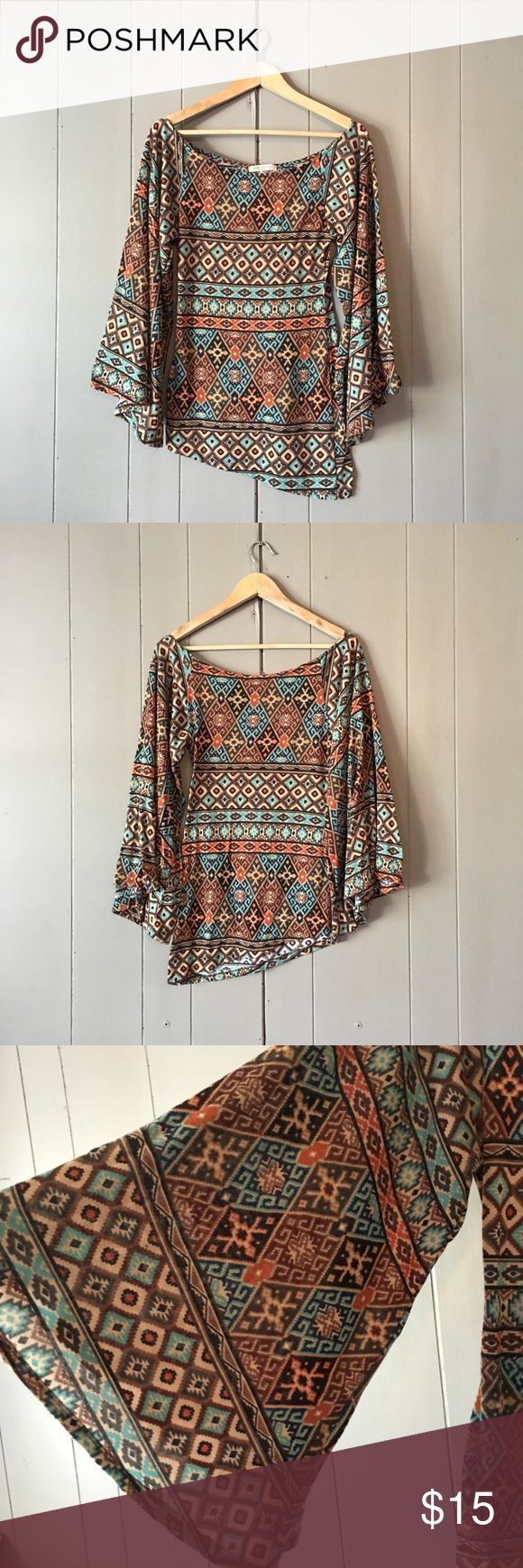 """Super chic Wide Sleeve Boho Tribal Aztec Top 🍃 Good used condition. Asymmetrical hem. Armpit to armpit is 16"""". Length is 26-29"""". Offers are welcome. ☺️ Arden B Tops"""