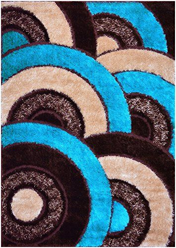 Royal Collection Turquoise Blue Brown Abstract Contemporary Design Shaggy Area  Rug (6056) (4