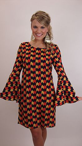 Dramatic bell sleeves and retro print!