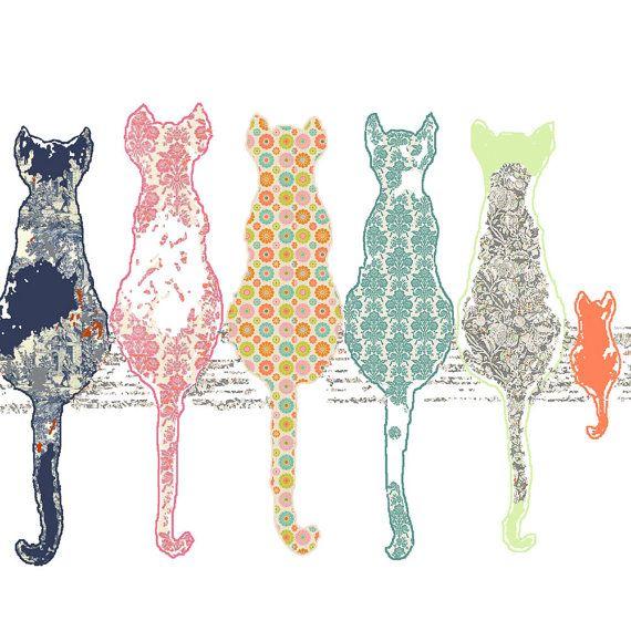 Children's art, Cat art print, baby girl nursery, cat decor, baby room decor, nursery art print, nursery decor, gift for mom, mother's day on Etsy, $18.75