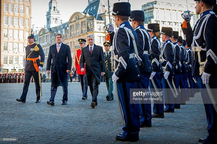 King Willem-Alexander and Queen Maxima of the Netherlands welcome King Philippe and Queen Mathilde during an official welcome ceremony at the Dam Square in the front of the Royal Palace at the start of the three-day state visit on 28 November 2016 in Amsterdam, The Netherlands.