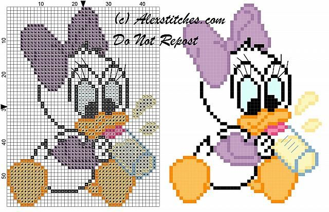 Baby Daisy Duck with pacifier for bibs cross stitch pattern