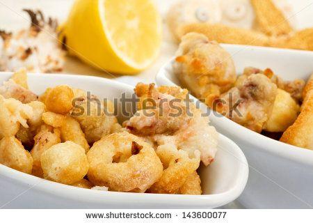 fried fish close up with lemon