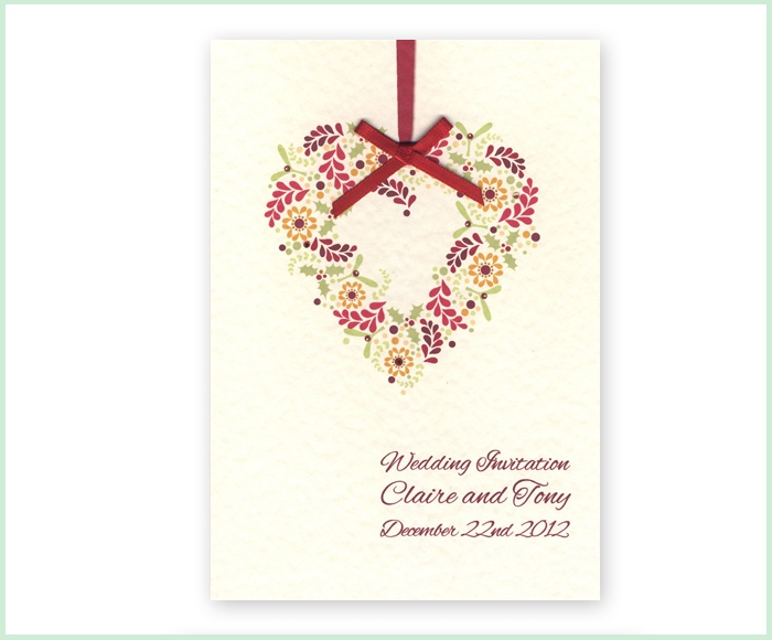 Tickled Pink Wedding Stationery Winter Wreath With Mistletoe Holly And Seasonal Colours 2 75