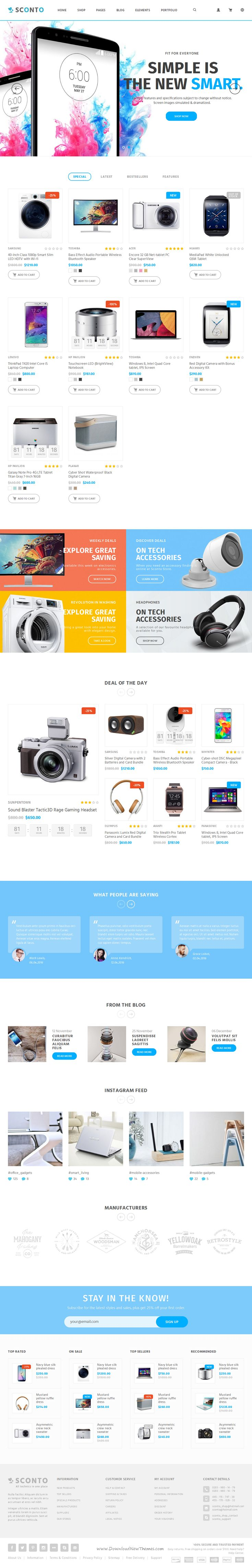 Sconto is a Premium Responsive Bootstrap Template for multipurpose eCommerce #website with 10 homepages variation, 8 portfolio layout and great features. #electronics #shop Download Now!