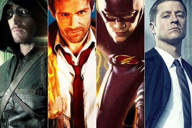 The Heroes of the DC TV Shows: (l-r) Stephen Amell as Green Arrow, Matt Ryan as John Constantine, Grant Gustin as The Flash, and Ben McKenzie as James Gordon