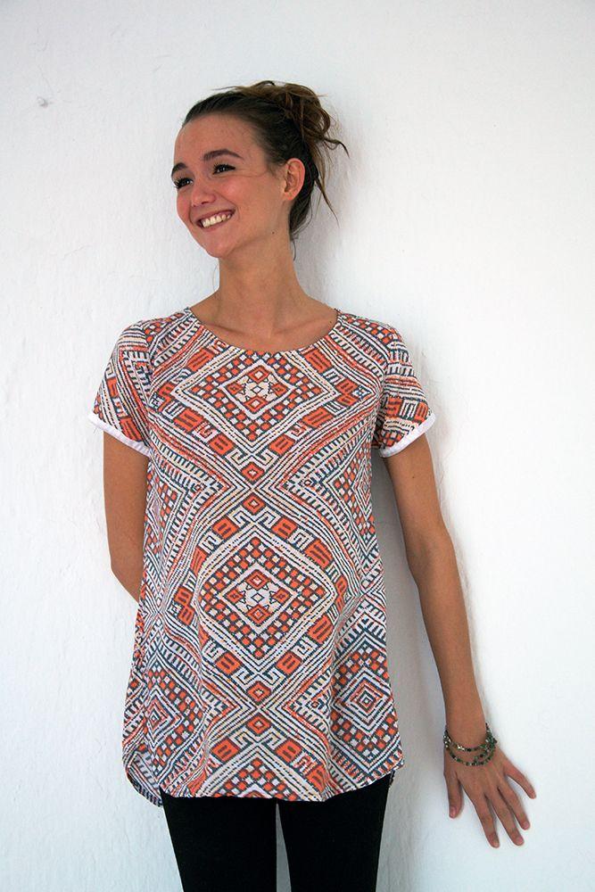 Sorayane - Coral Lozenge Batik T-shirt