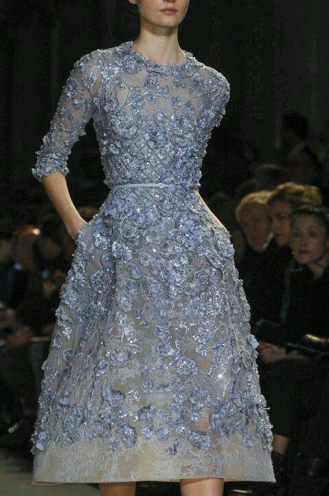 Elie Saab Spring 2013 Couture, Tilda Lindstam. (Dress, lavender blue, embroided lace, kneel length, 3/4 sleeves)
