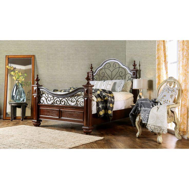 Furniture of America Barath Antique Dark Oak Wood and Metal Poster Bed (King), Brown