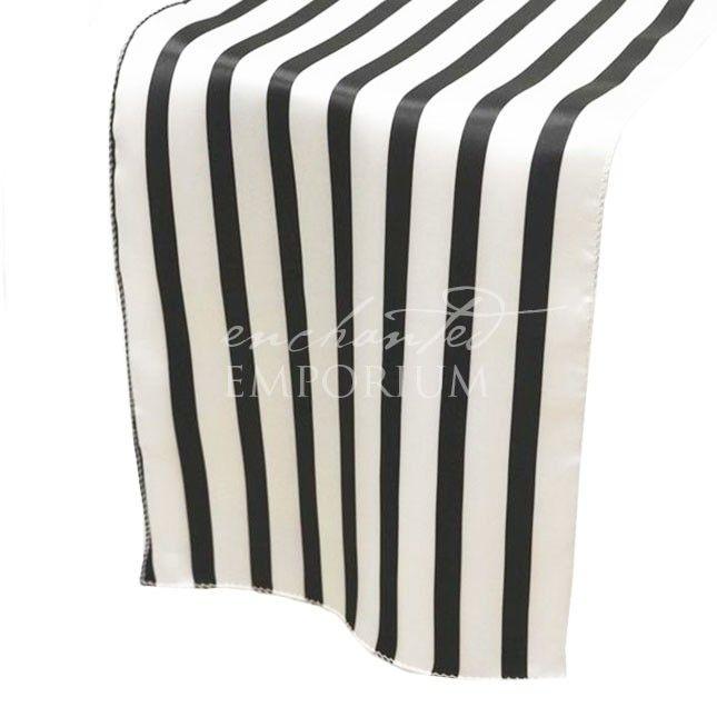Black & White Striped Satin Table Runner, Enchanted Emporium
