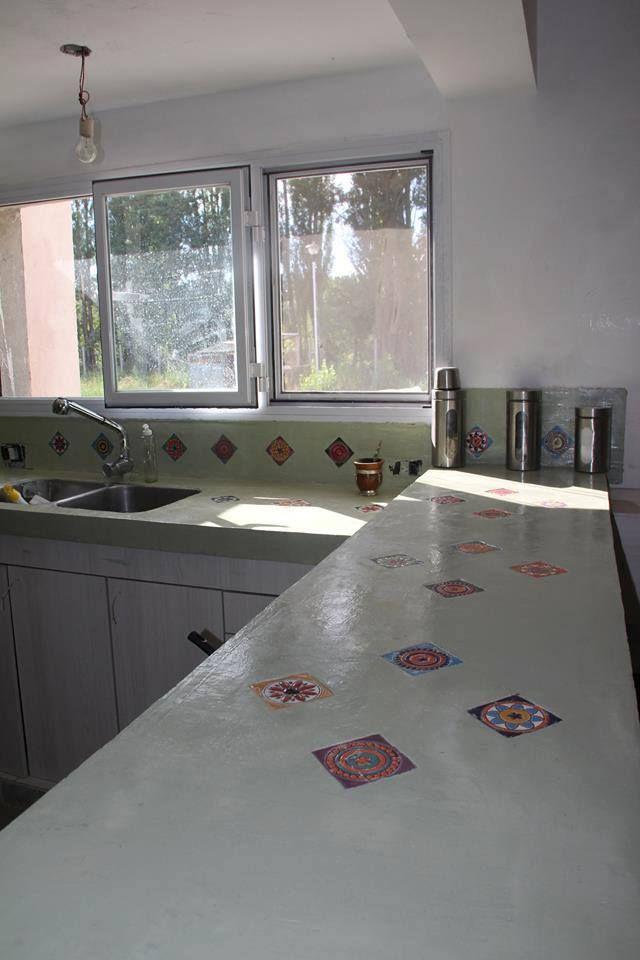 Encimeras para cocinas de cemento alisado con inclusi n de - Como colocar microcemento ...