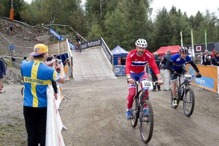 Sept 6, 2014. Crown Prince Haakon taking a mountainbike test ride on the women's roundtrack at the World Championships in Hafjell, Norway.