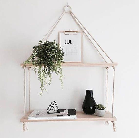 Timber & Rope Hanging Shelf Double Tier Wood Shelf…