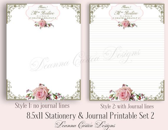 8.5x11 Stationery and Journal note Printable Set 2 by DeannaCartea