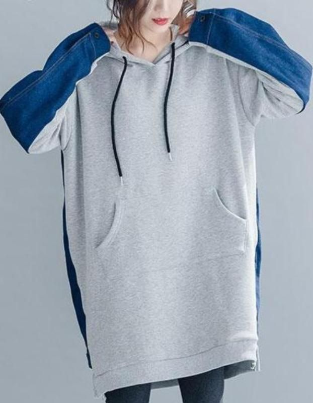 10c800f52ea MOO Oversized Hoodie with patchwork in 2 colours