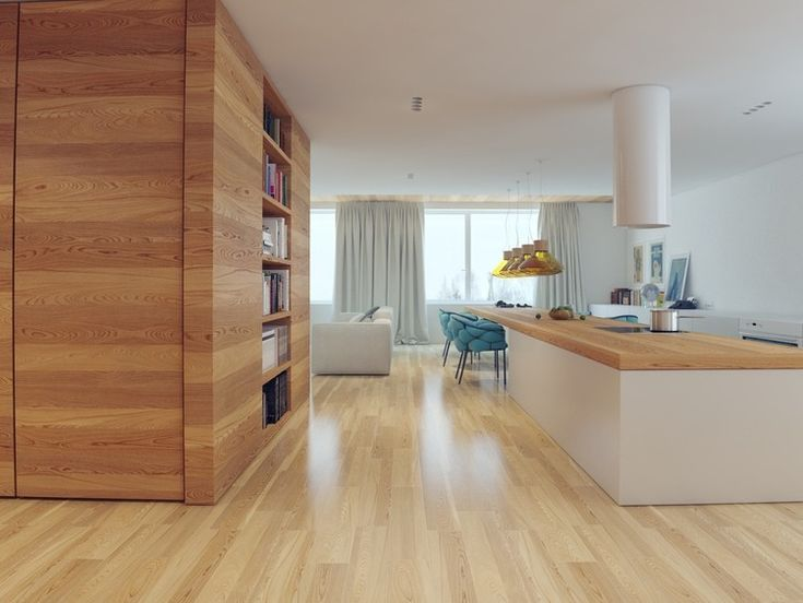 Apartment, Yacht Interior Design With Wooden Floor And Book Case Also  Kitchen Island Fused To