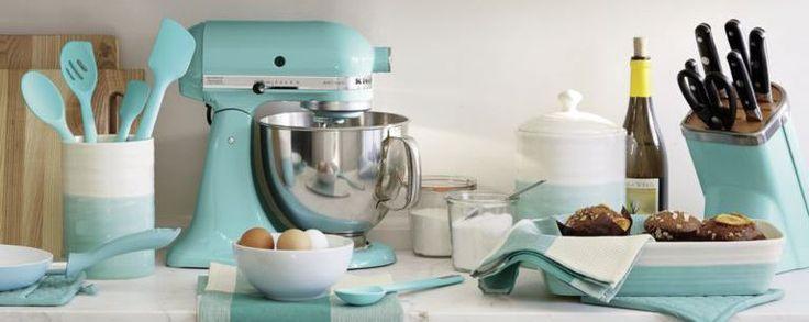 Aqua and Cream Kitchen Accessories