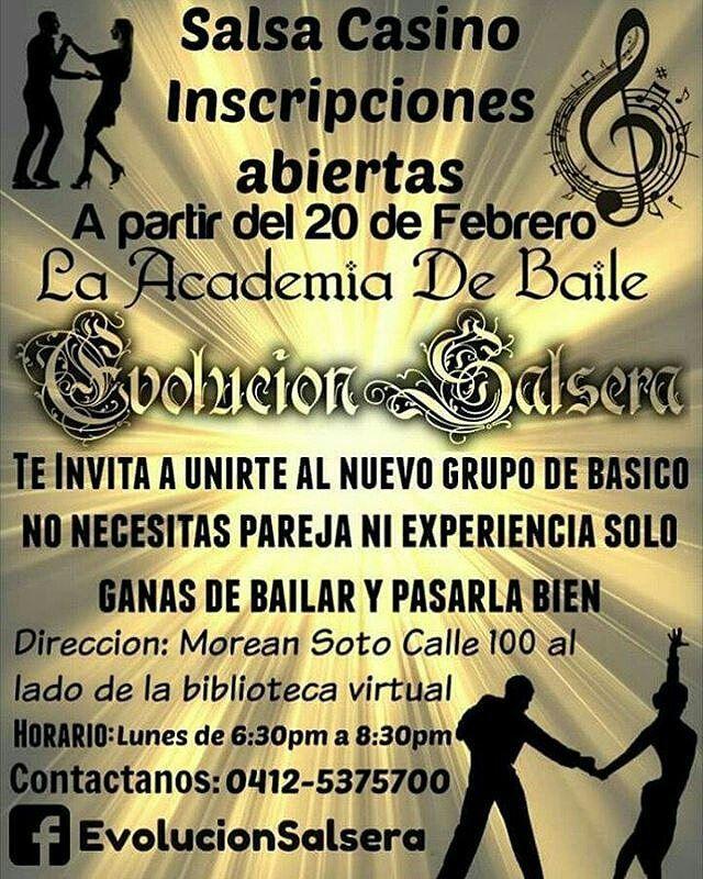 @karilaideal #Aragua #Maracay  Atención!!! La Academia De Baile #EvolucionSalsera les trae A toda esa gente interesada en aprender a bailar salsa Casino Inscripciones abiertas a partir del 20 de febrero para un nuevo básico Horario: Lunes de 6:30pm a 8:30pm Direccion: Morean Soto al lado de la biblioteca virtual donde funcionan las danzas color ritmo y folklore Animate no te quedes sentado en las fiestas!!!! para mas información  Tlf: 0412-5375700  Facebook: http://ift.tt/2kFyfvI…