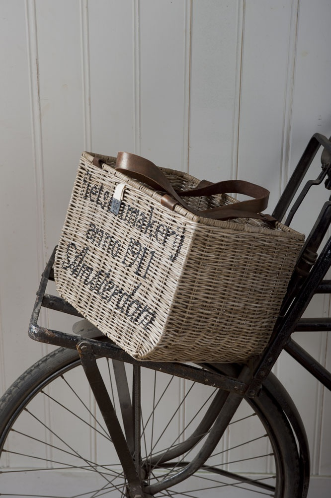 Bicycle basket from Riviera Maison -    love the stencil on basket - I'm going to try to stencil my own basket