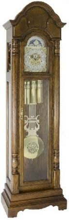 Found it at Clockway.com - German Hermle Triple Chiming Grandfather Clock Cherry Finish - JHE2526