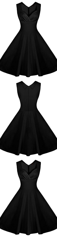 Miusol Women's Cut Out V-Neck Vintage Casual 1950'S Retro Party Dress (3X-Large, Black)