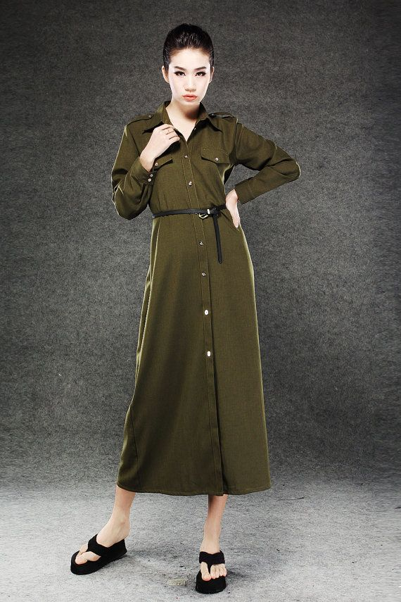 Vintage Military style long shirt dress by YL1dress on Etsy