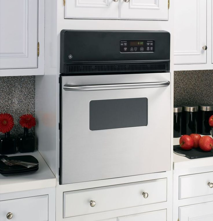 """GE JRS06 24"""" Built-In Electric Oven with Frameless Glass Oven Door and Clear Vie Stainless Steel Ovens Electric Single"""