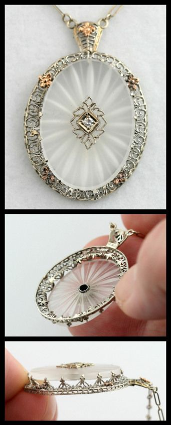 Edwardian starburst-cut camphor glass, diamond, and white gold filigree necklace. Via Diamonds in the Library.